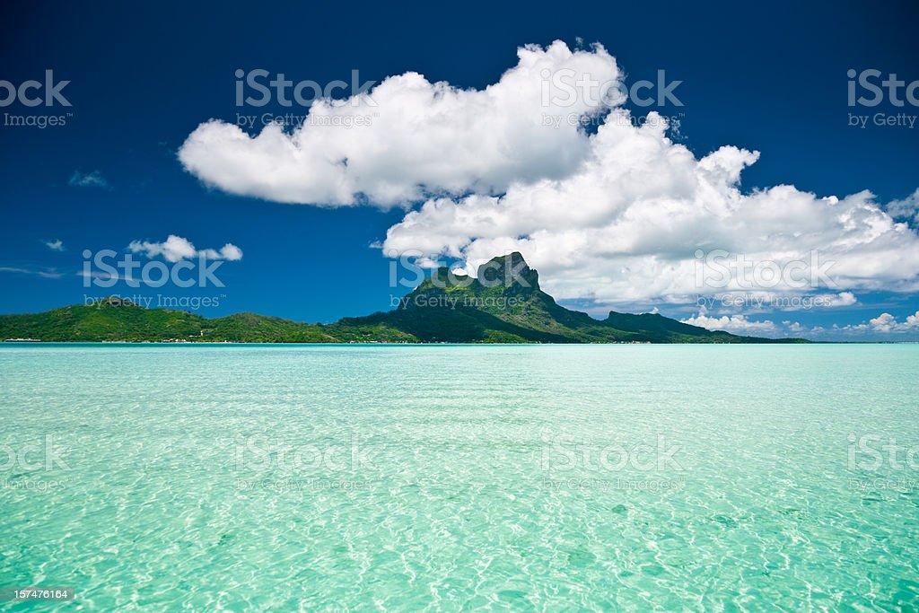 View over Bora-Bora Lagoon royalty-free stock photo