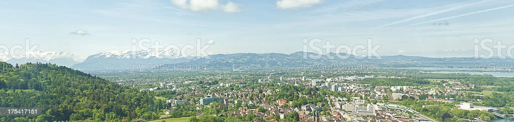 View over Bregenz / Austria to mountain Santis stock photo