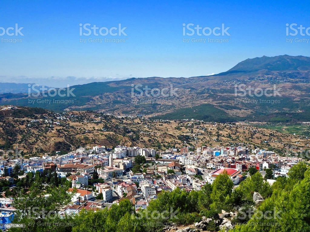 View over Chefchaouen in Morocco stock photo