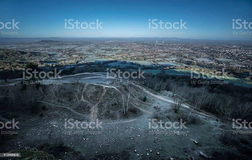 View over Cheltenham, UK, from Leckhampton Hill. stock photo