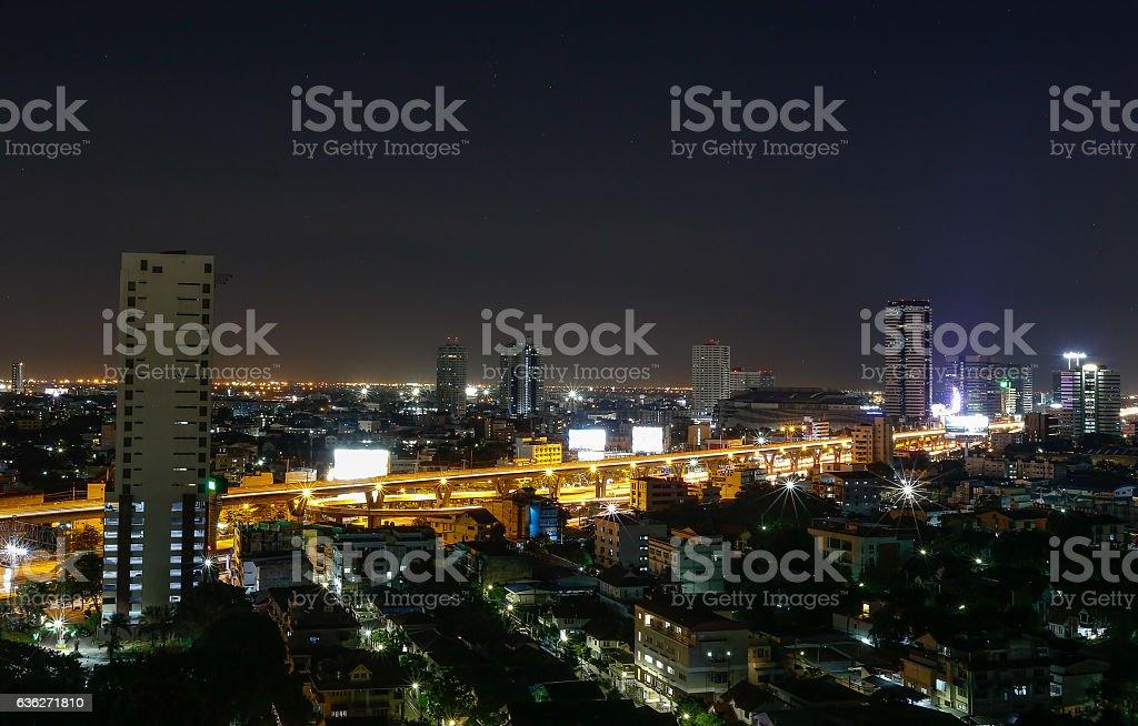 view over city of Bangkok , Thailand at nighttime stock photo
