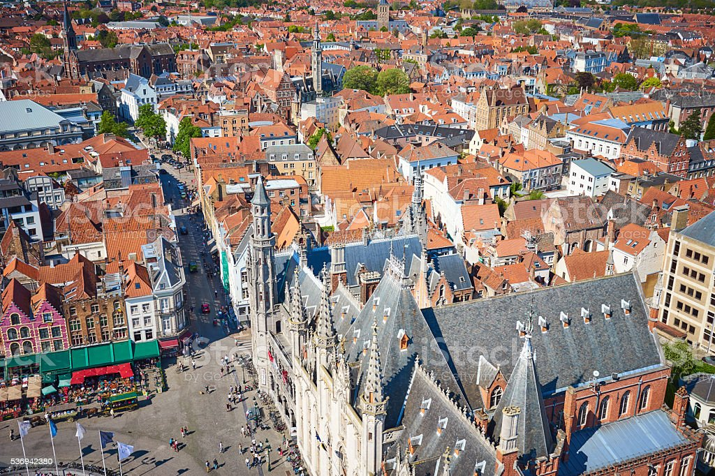 View over cityscape of Bruges stock photo