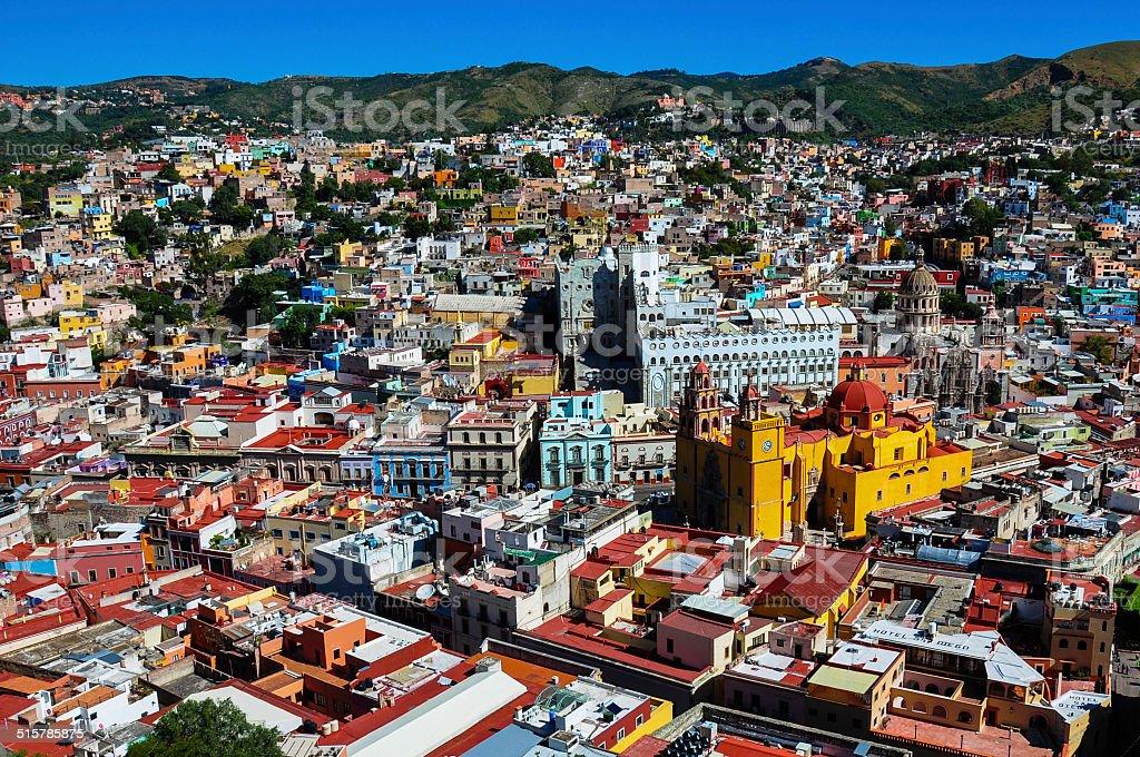 View over Colonial city of Guanajuato, Guanajuato, Mexico stock photo