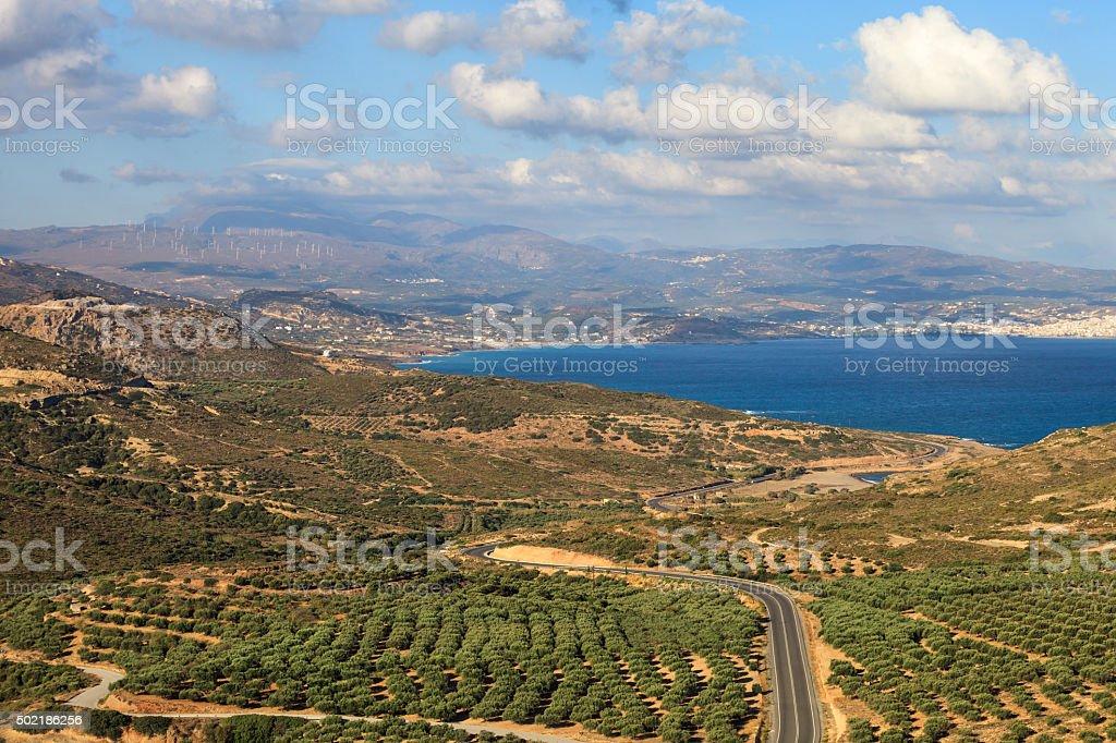 View over Crete coast stock photo