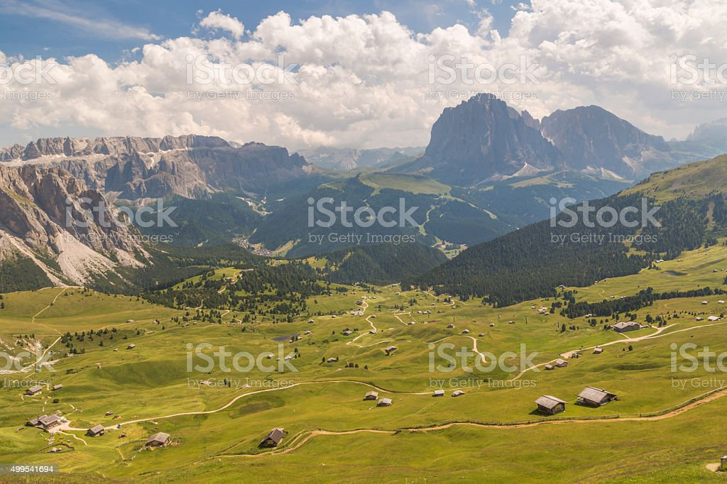 View over Dolomites with plenty of cottages stock photo