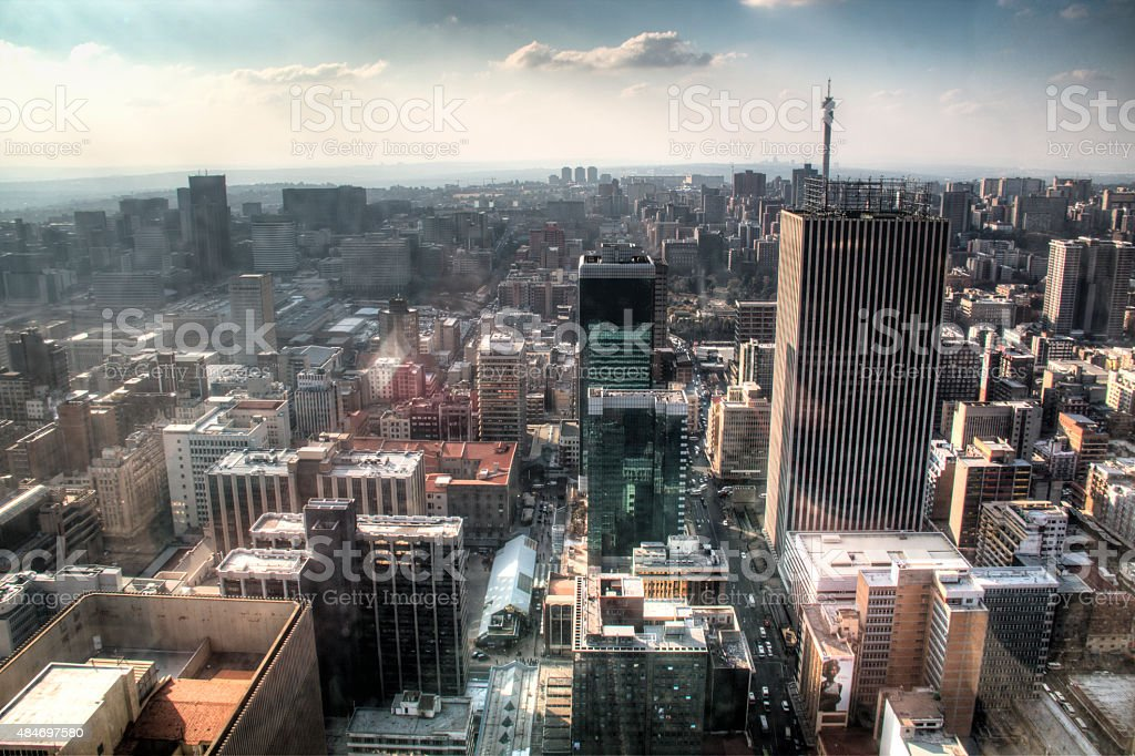 View over downtown Johannesburg in South Africa stock photo