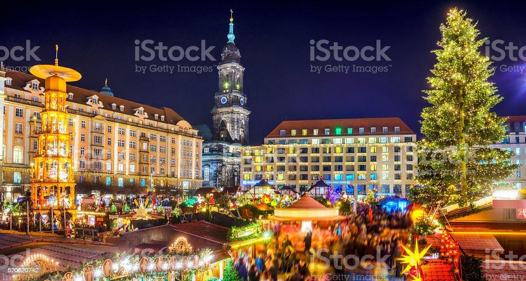 View over Dresden Christmas Market - Striezelmarkt stock photo
