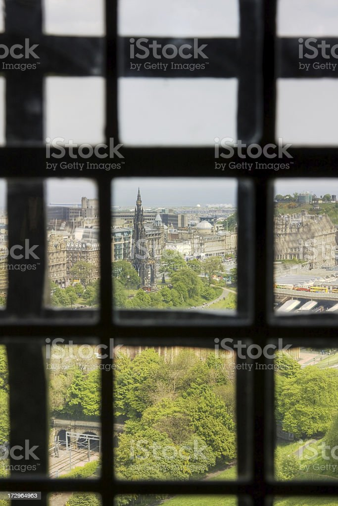 View Over Edinburgh Through Old Glass royalty-free stock photo