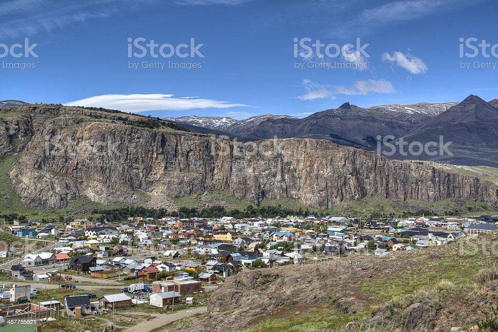View over El Chalten, Argentina stock photo