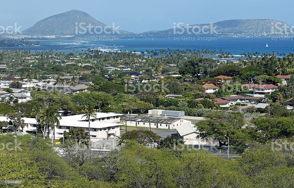 View over Fort Ruger Park to Koko Head crater stock photo