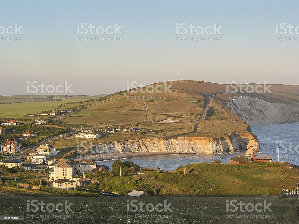 View over Freshwater Bay from Tennyson's Mount stock photo