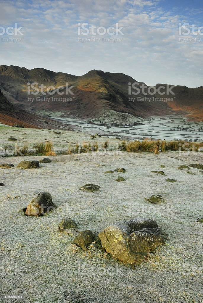 View over frosty Great Langdale, English Lake District stock photo