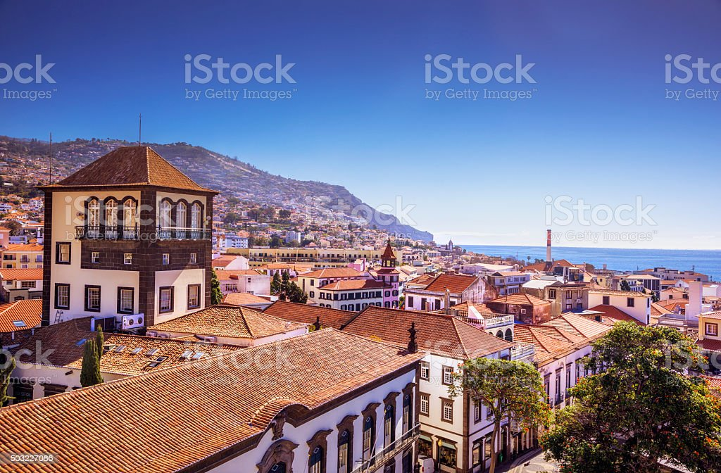 View over Funchal Downtown stock photo
