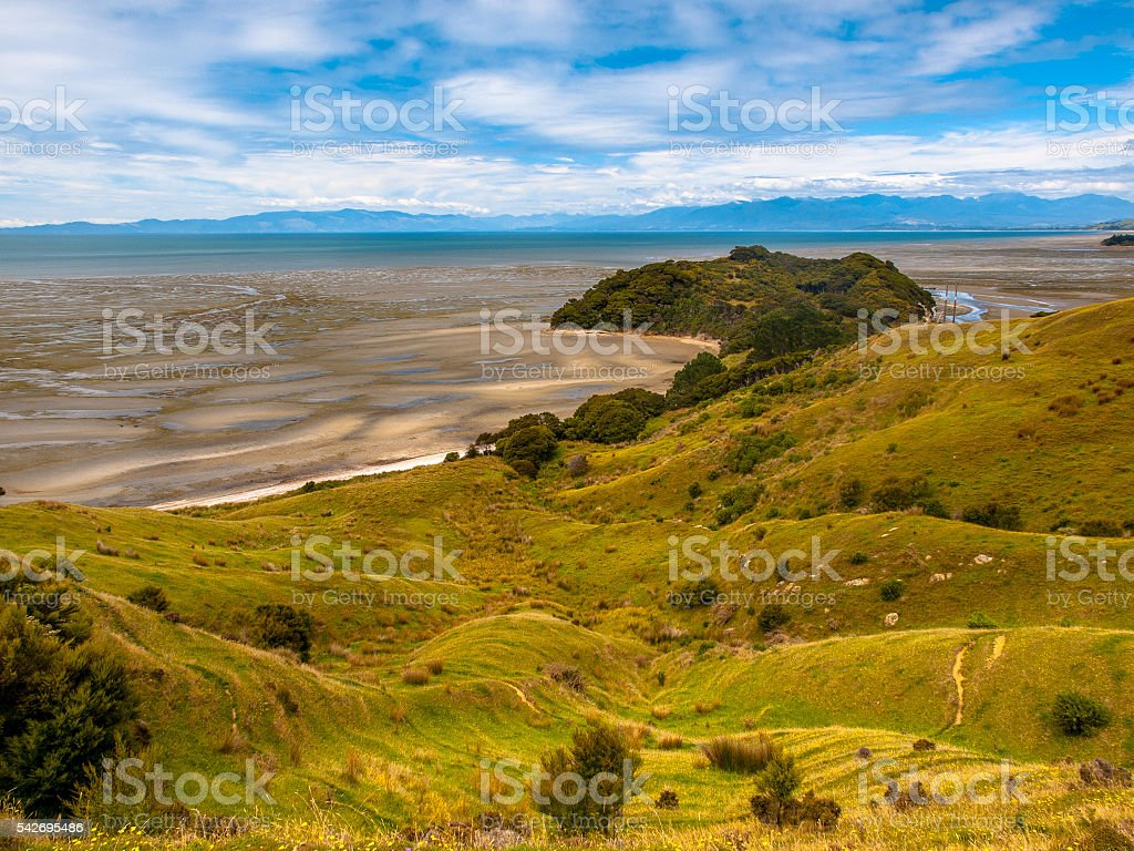 View over Grassland at Puponga bay, South Island, New Zealand stock photo