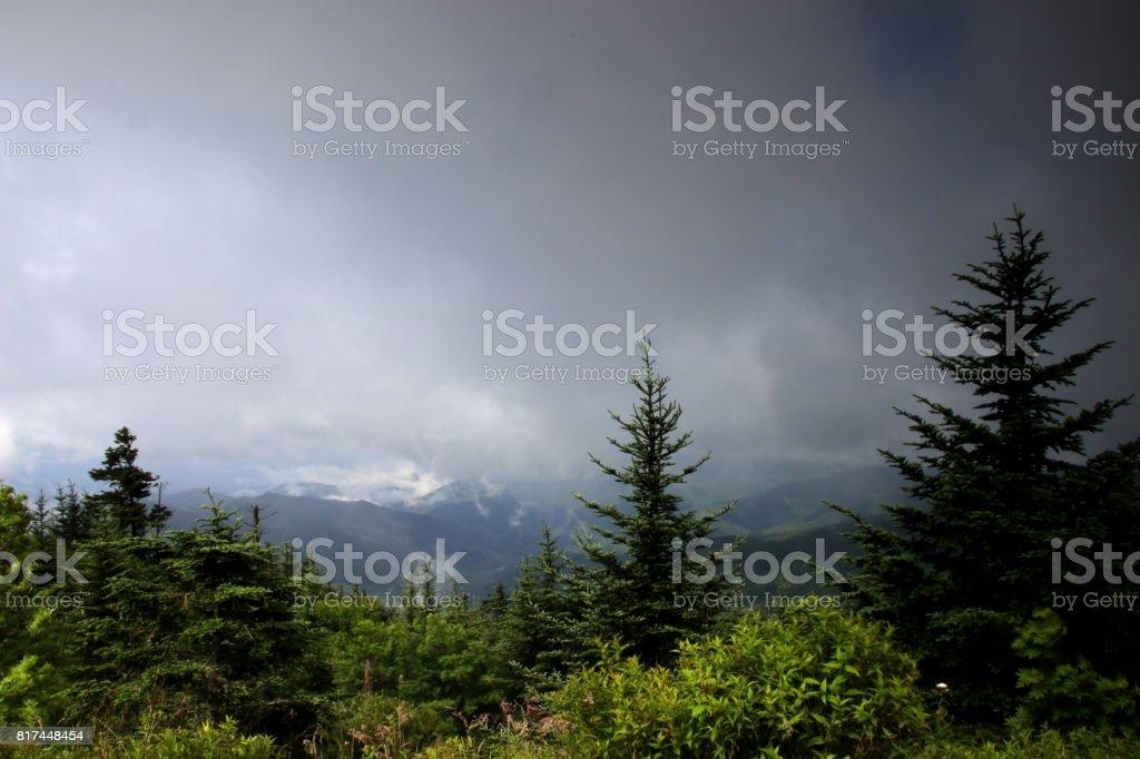 View over Great Smokeys stock photo