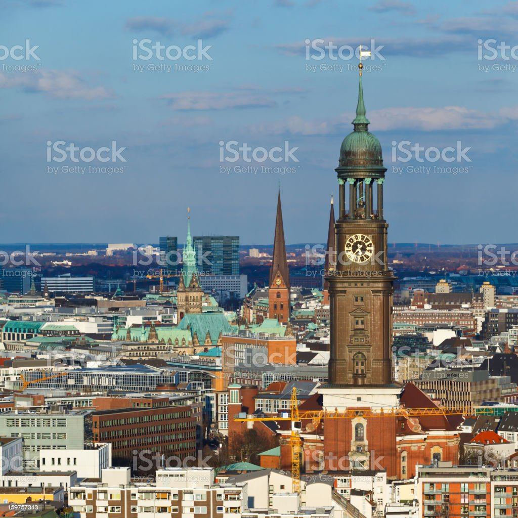 View over Hamburg city, St. Michaelis church, town hall stock photo