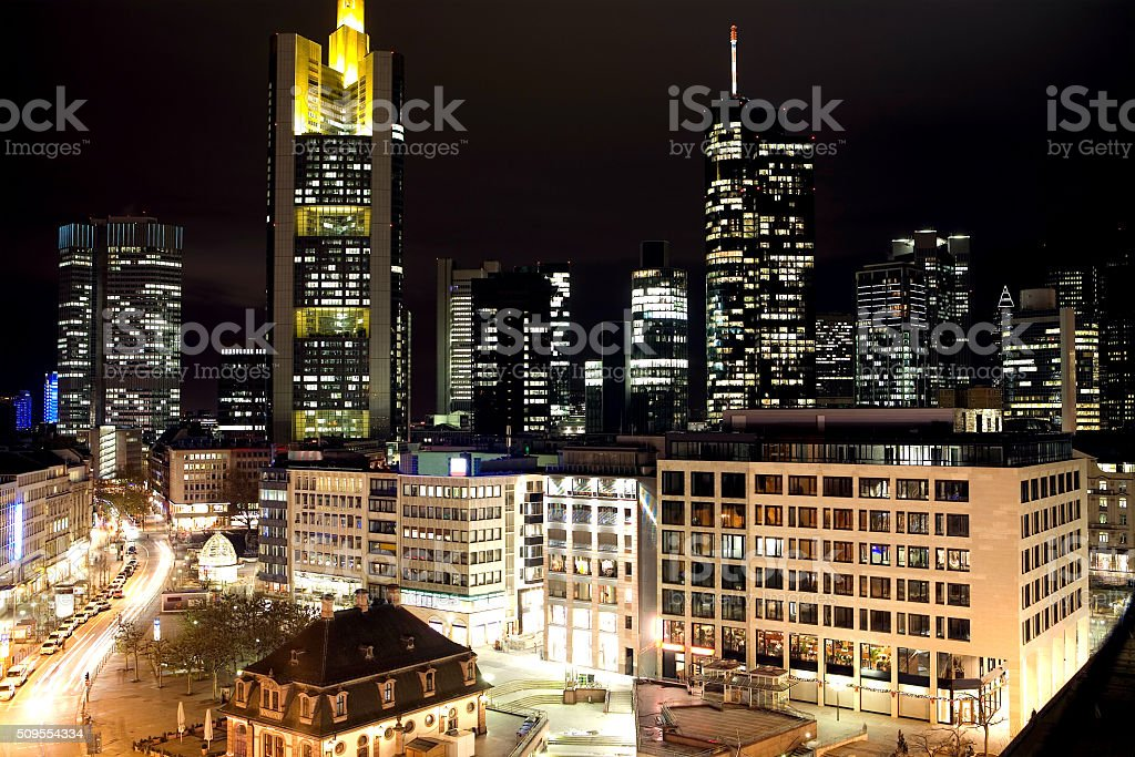 View over Hauptwache with the skyline of Frankfurt stock photo