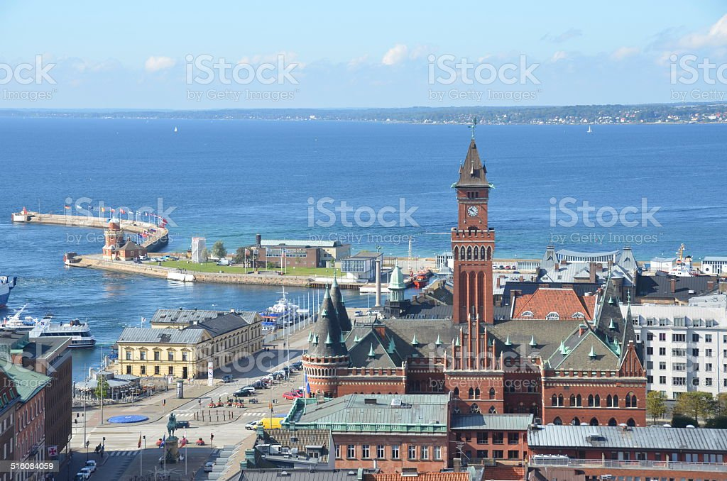 View over Helsingborg stock photo