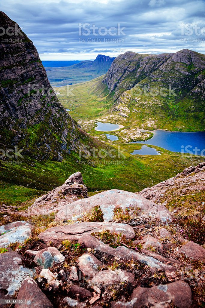 View Over Hills and Glens of Inverpolly, Scottish Highlands stock photo