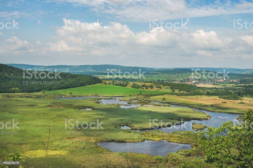 View over inner lakes and fields, Lake Balaton, Hungary stock photo