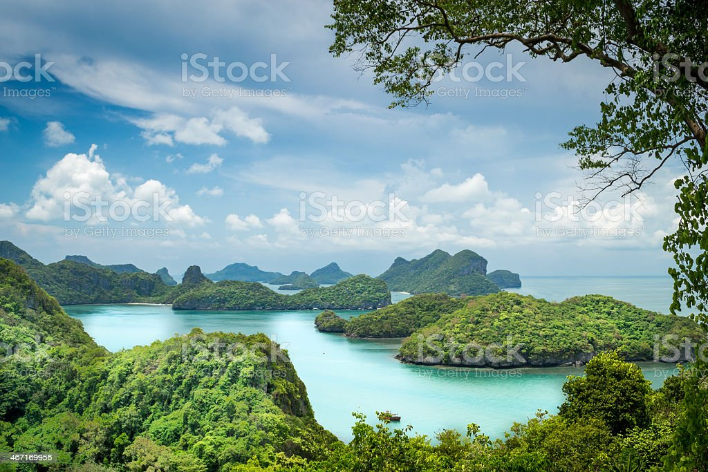 View over Islands in Ang Thong, Thailand stock photo
