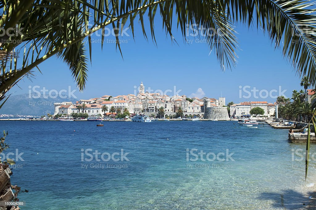 View over Korcula old city stock photo