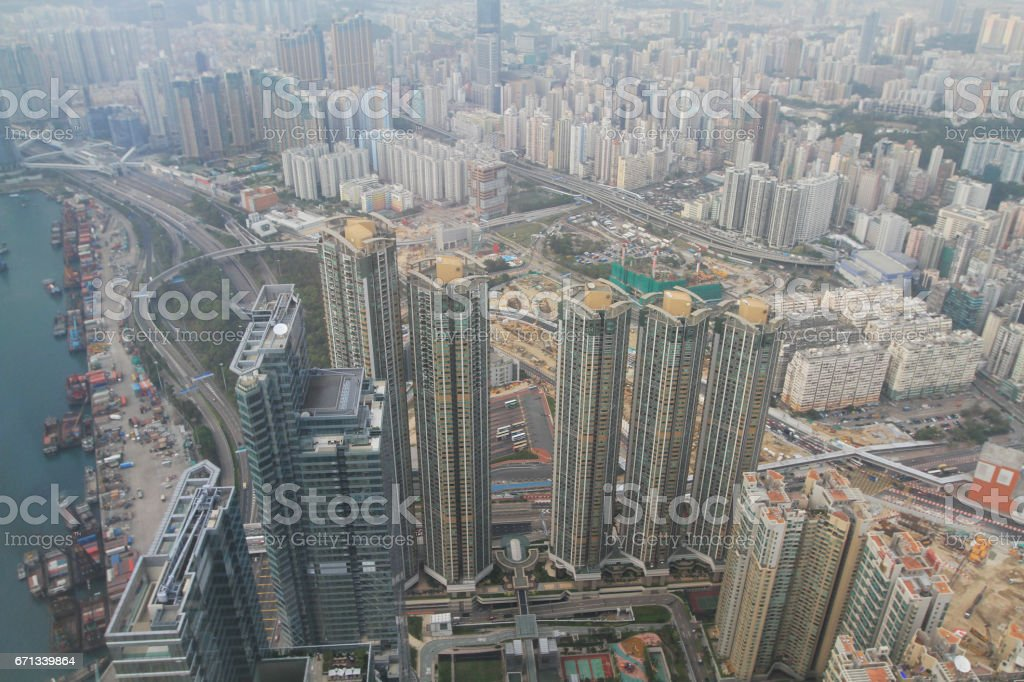 View over Kowloon in Hong Kong stock photo