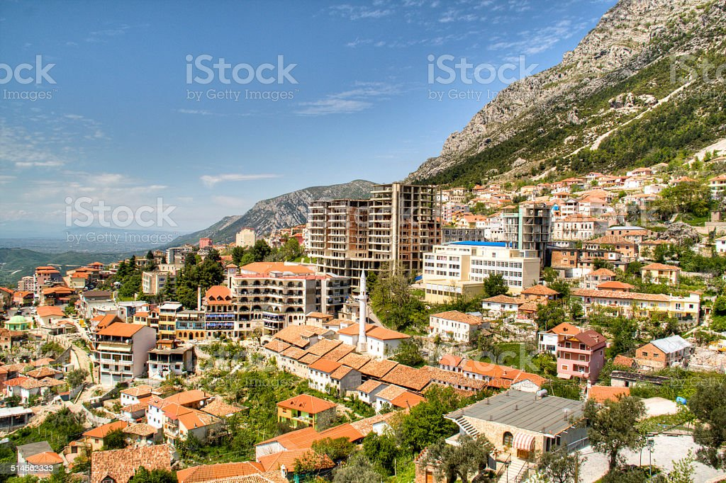 View over Kruje stock photo