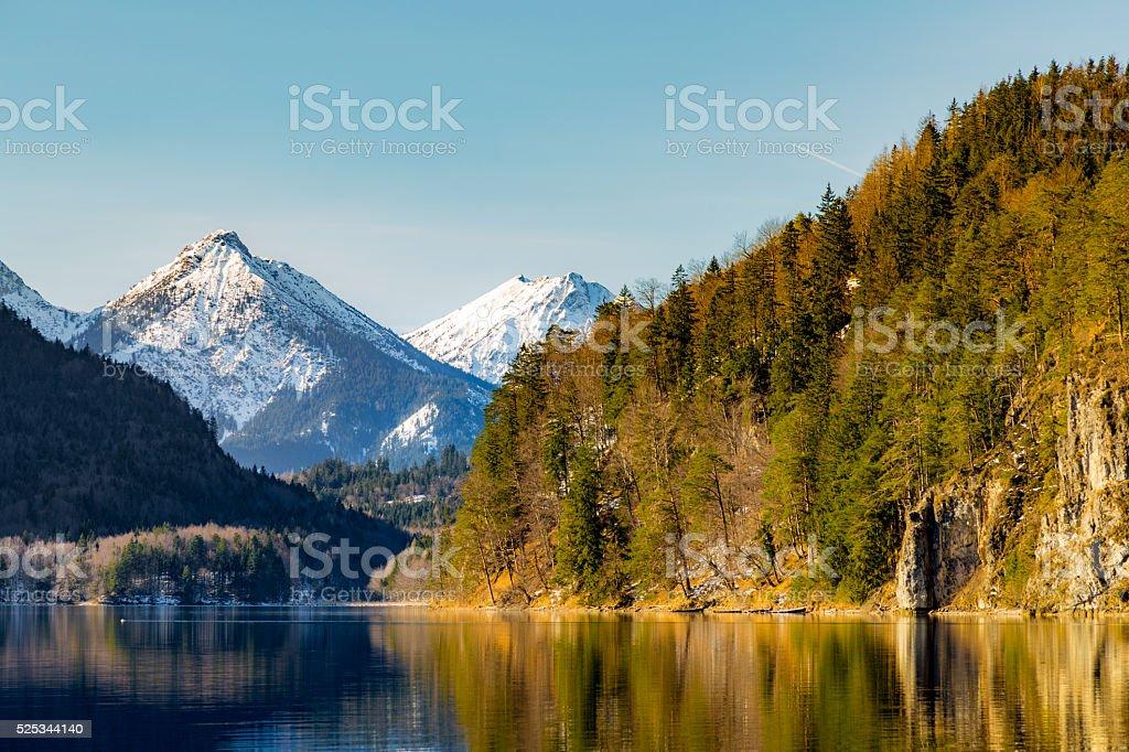 View over lake Alpsee near Neuschwanstein castle, Germany stock photo