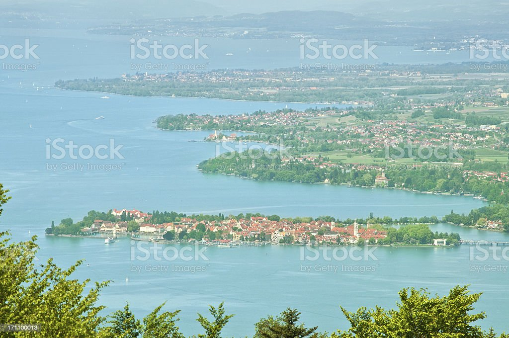 View over Lake Constance to Lindau stock photo