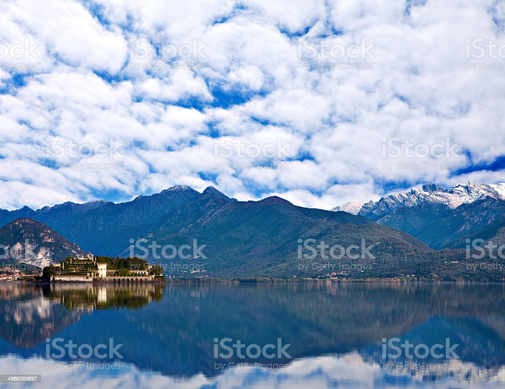 View over Lake Maggiore and Alps mountains stock photo