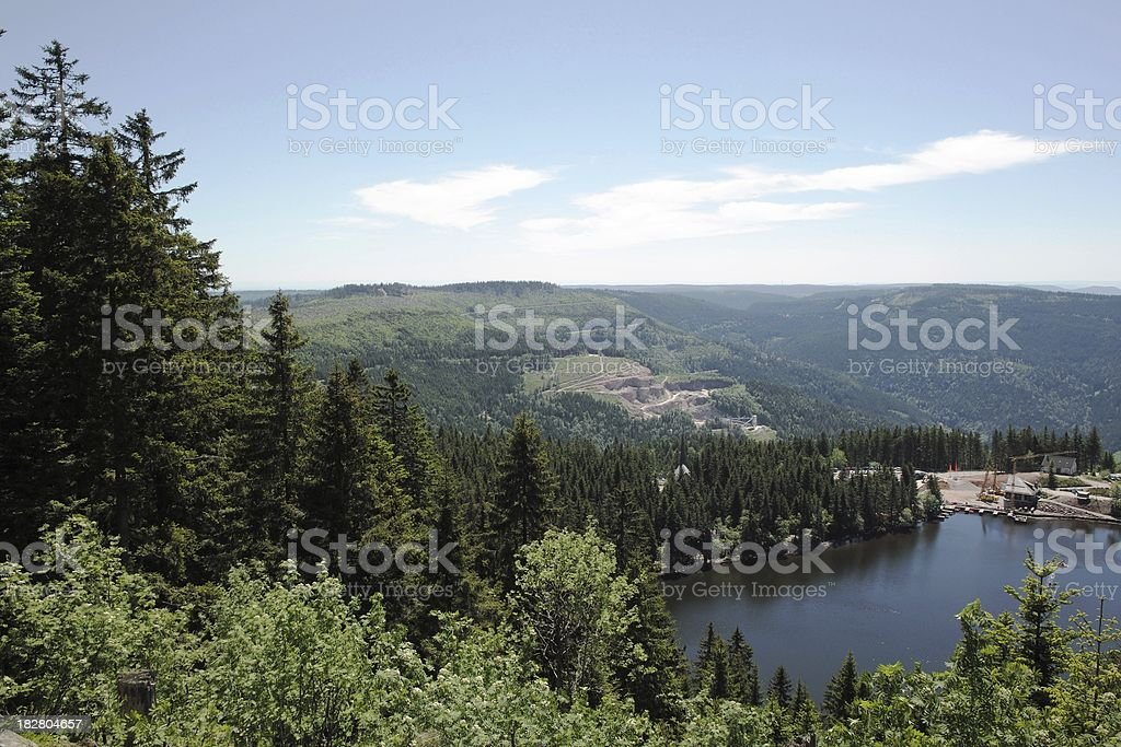 view over Lake Mummelsee in the Black Forest royalty-free stock photo