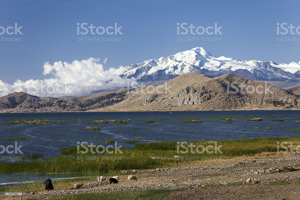 View over lake Titicaca and the Andes stock photo