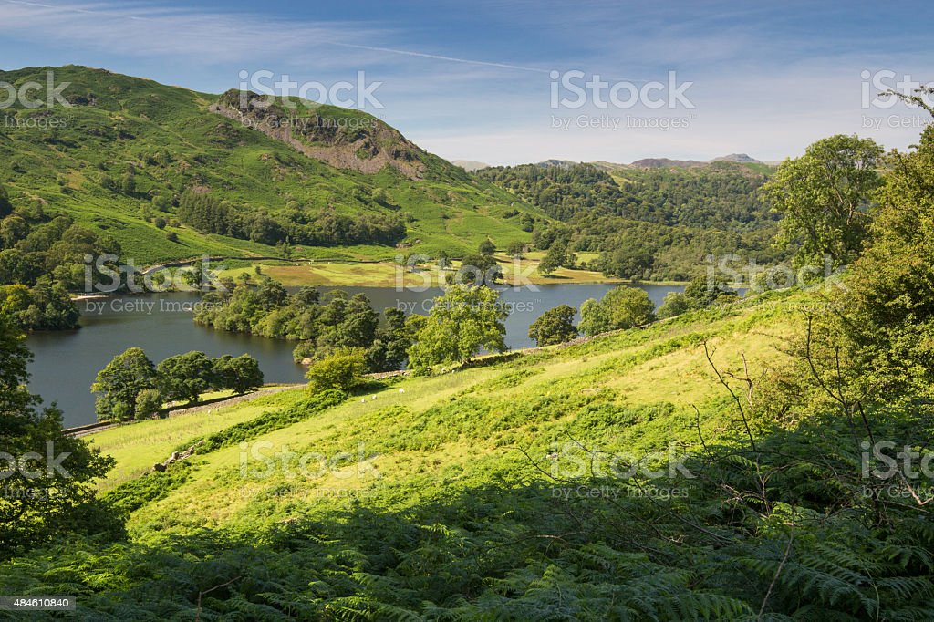 View over Lake Windermere walking from Ambleside to Grasmere stock photo