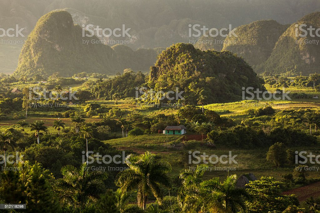 View over landscape with mogotes in Vinales stock photo