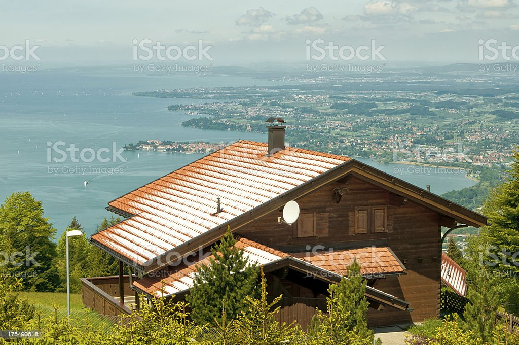 View over Lindau from Pfander mountain stock photo
