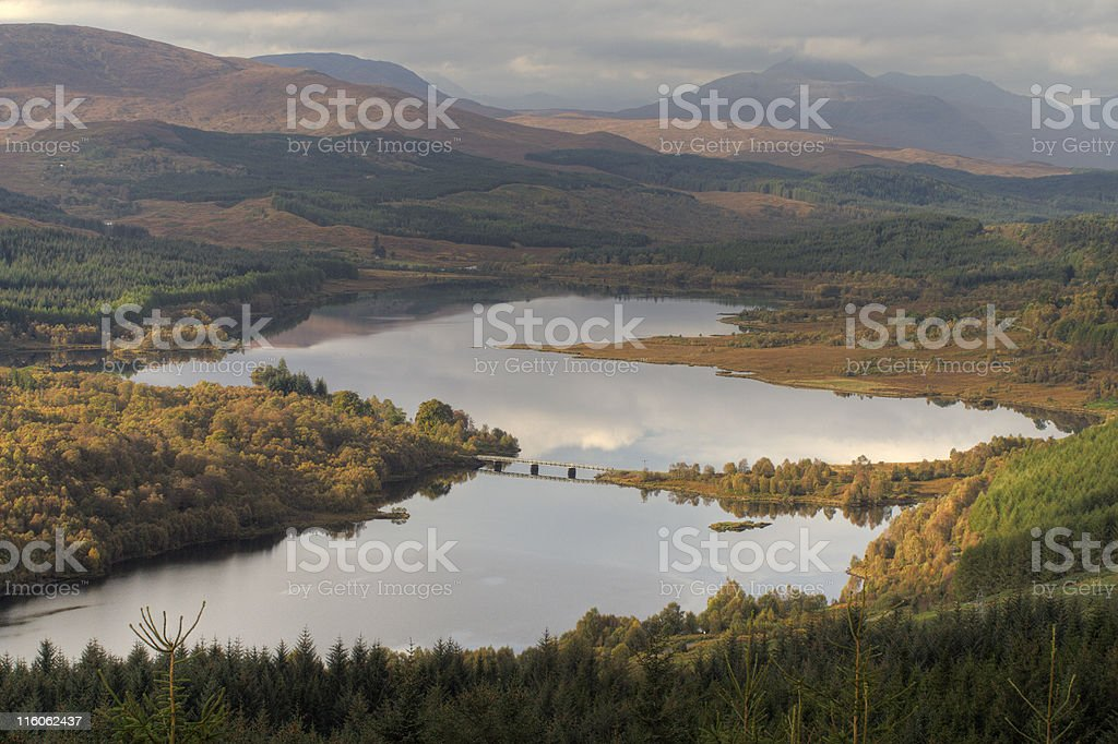 View over Loch Garry stock photo