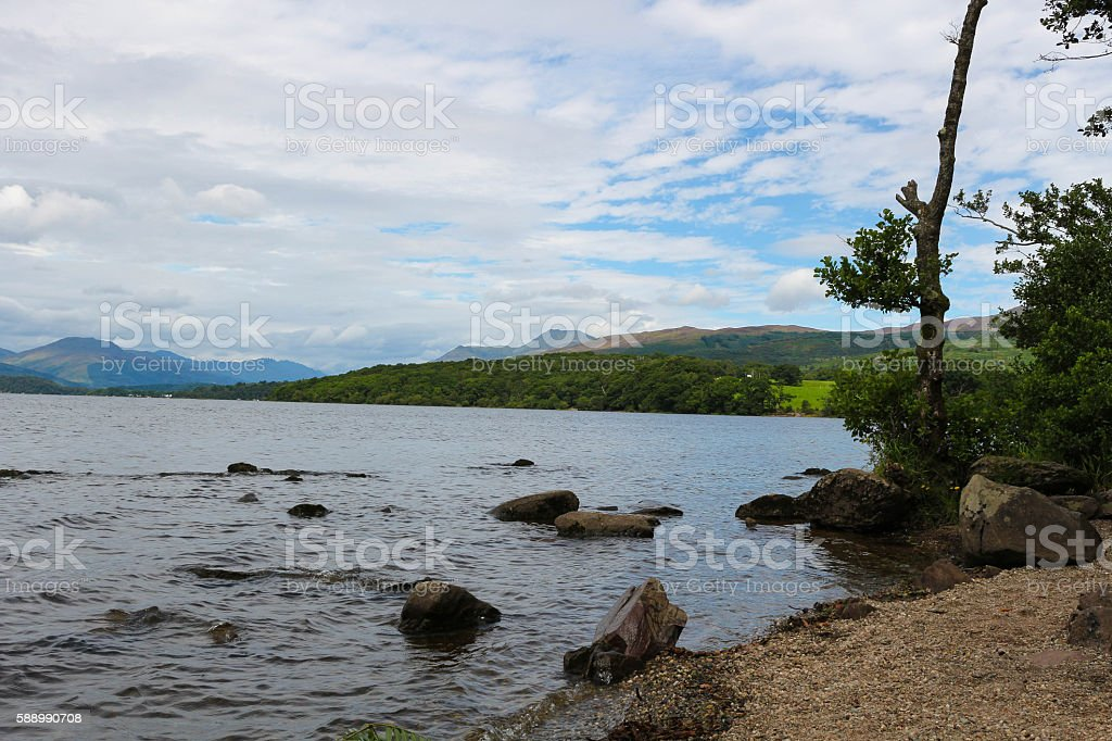 View over Loch Lomond and hills, Scotland. stock photo
