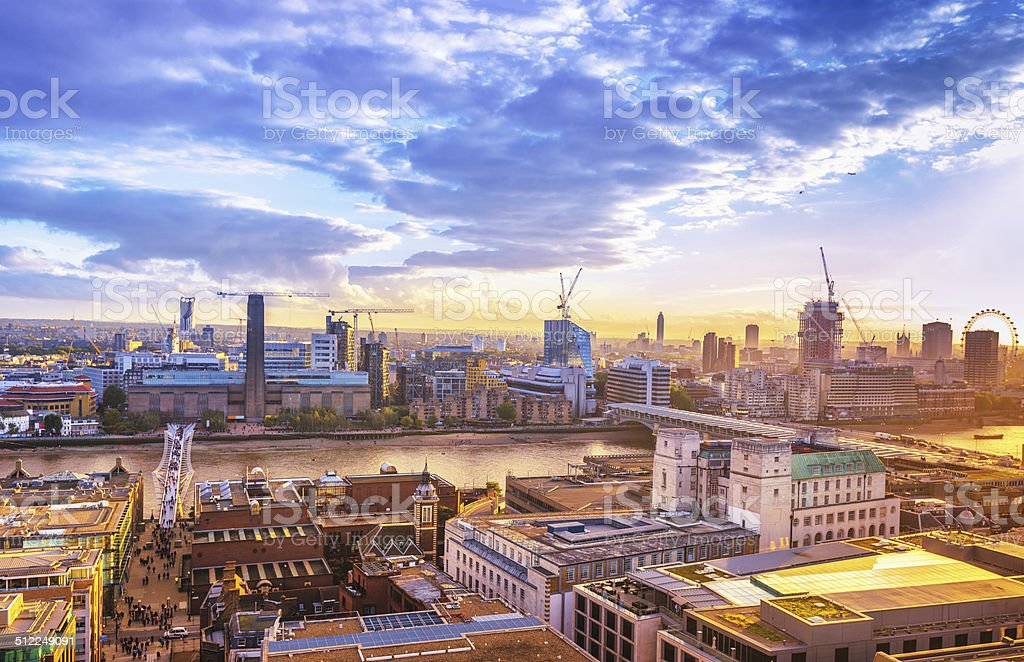 View over London and River Thames at sunset stock photo