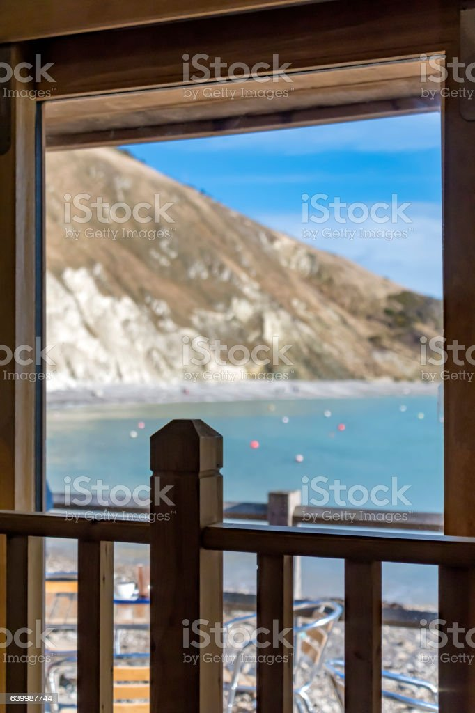 View over Lulworth Cove from a beach hut stock photo