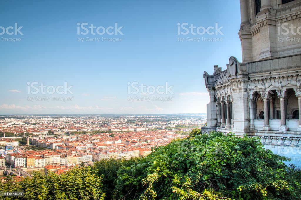 View over Lyon, France from Fourviere stock photo