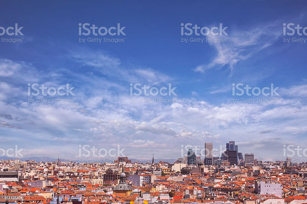 View over Madrid, Spain stock photo