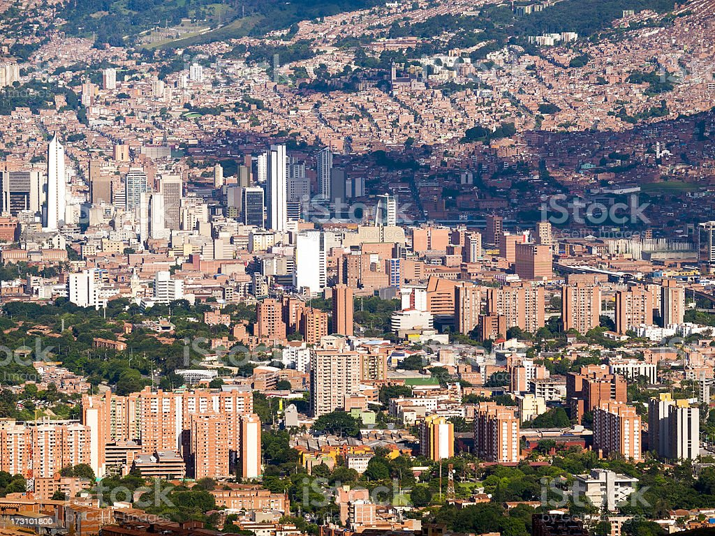 View over Medellin Capital of Antioquia in Colombia stock photo