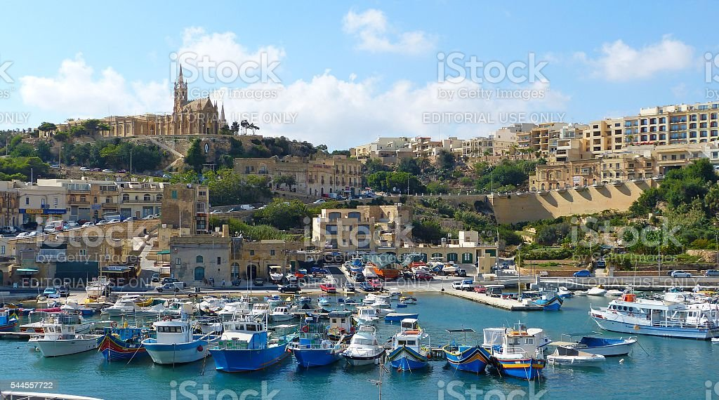 View over Mgarr harbour on Gozo island stock photo