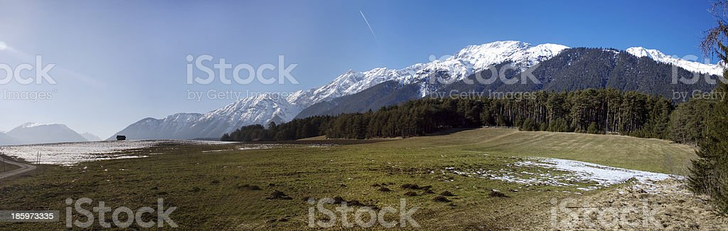 View over Mieminger plateau towards Wetterstein mountain range royalty-free stock photo