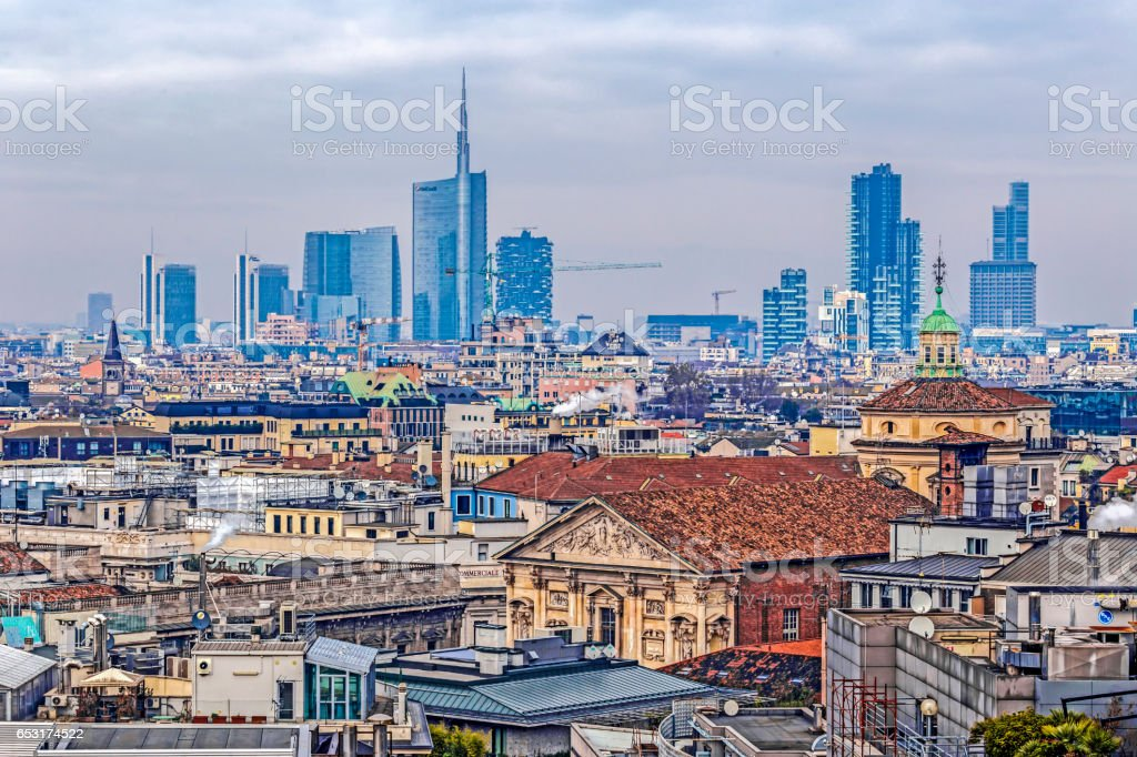 View over Milan from the gothic cathedral Duomo di Milano, Italy stock photo