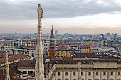 View over Milan from the top of the Milan Cathedral