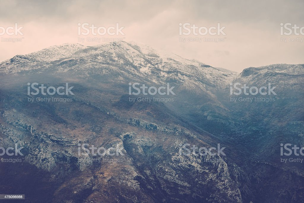 View over misty mountain rock in the Moraca river canyon stock photo
