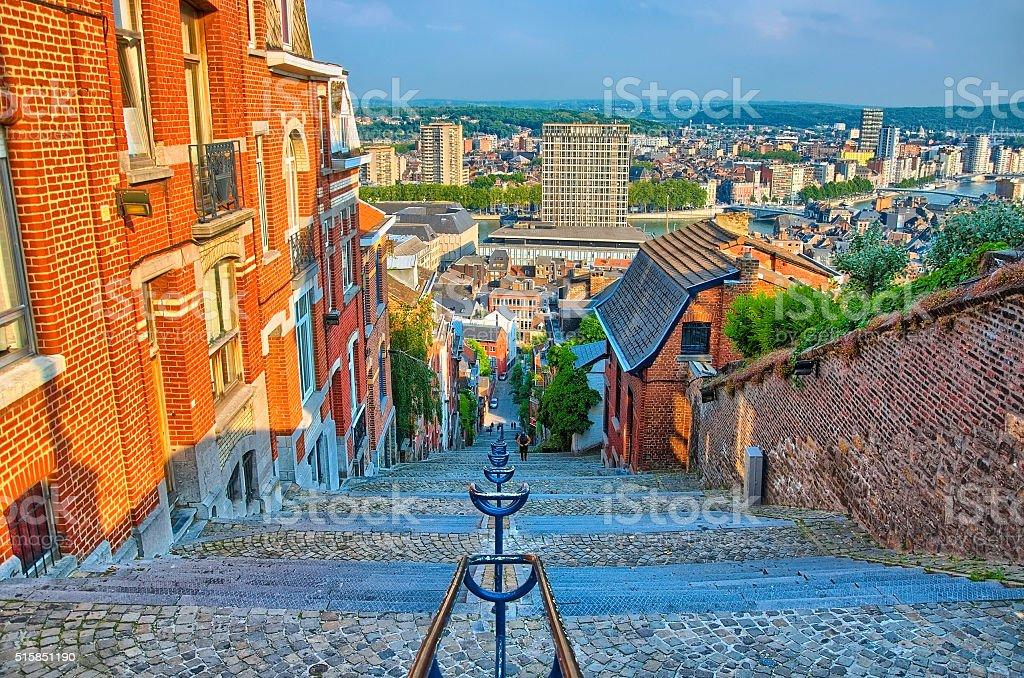 View over montagne de beuren stairway with red brick houses stock photo