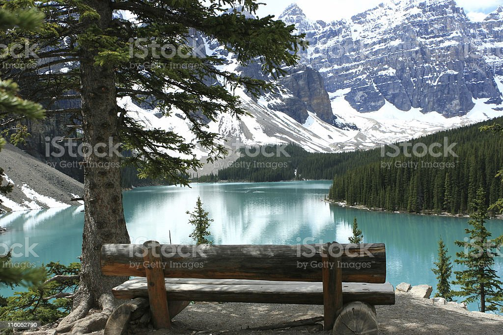 View over Moraine Lake stock photo